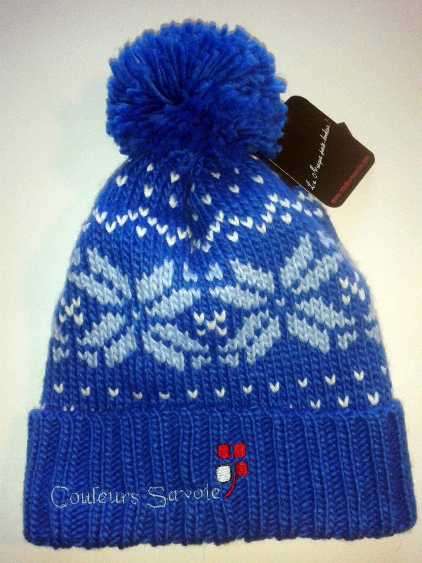 Bonnet montagne bleu motifs
