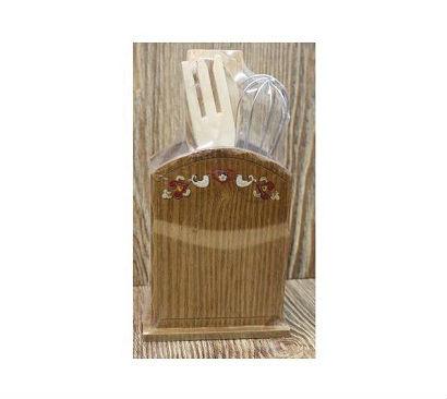 Porte ustensile en bois decore coeurs 4