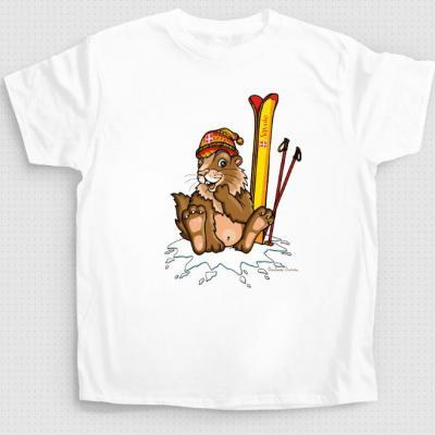 T-shirt marmotte au ski